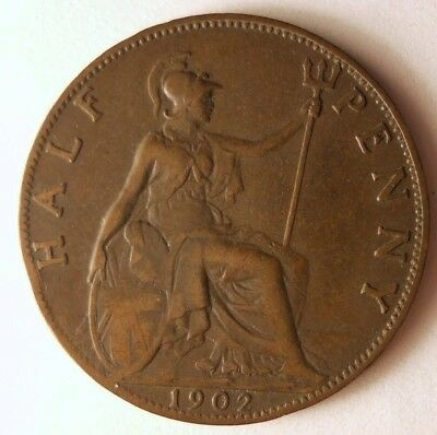 1902 GREAT BRITAIN 1/2 PENNY - Excellent Coin - FREE SHIP - Britain Bin #A