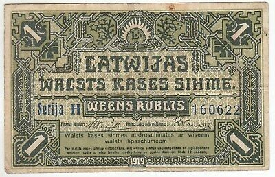 Latvia 1 Rublis 1919 Issue Latvian Government Currency Note Pick: 2b In XF++