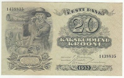 Estonia 20 Krooni 1932 Banknote Pick: 64a In XF++ To AUNC..