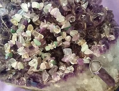 Wow Reduced Handcrafted Unique One Of Kind Mixed Gemstone Necklace With Amethyst