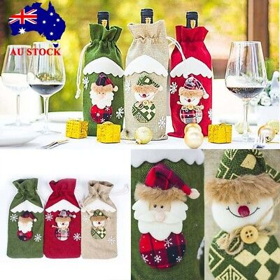 Christmas Santa Claus Wine Bottle Bag Cover XMas Home Party Table Decor Gifts