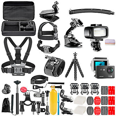 G0 Action Camera with 50 in 1 Kit and Underwater 20 Dimmable Flash Light