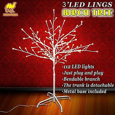 Strong Camel Christmas 3FT Birch Light Tree 112 LED Lighted Warm White Decora...