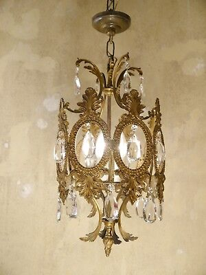Old Brass Lantern Ceiling Lamp 3 Lights Fixtures Chandelier Antique
