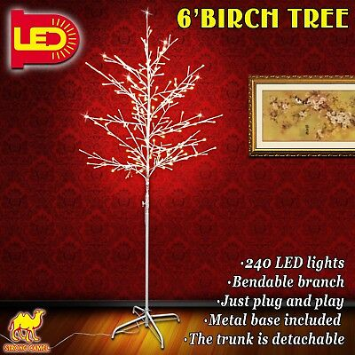 Strong Camel 6FT Birch Light Tree 240 LED Lighted Warm White Christmas Decora...