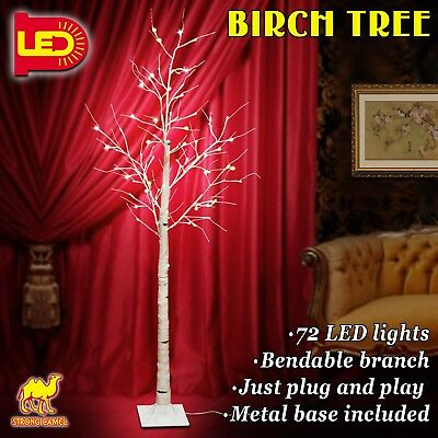 Strong Camel 6Ft 72 LED Silver Birch Tree Light W/ Icicle Twinkling Flexible ...