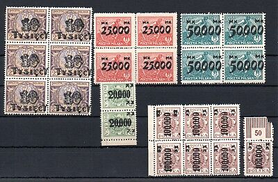 POLAND , 1921 , 1923 , very nice lot of stamps in blocks / strips , MNH !