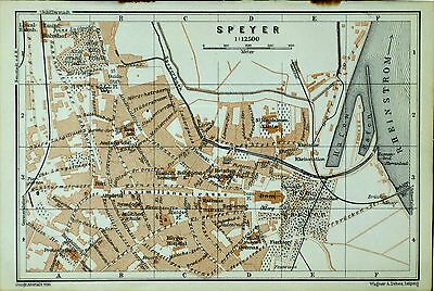 SPEYER, alter farbiger Stadtplan, datiert 1913
