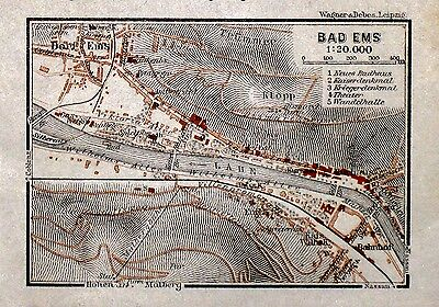 BAD EMS, alter farbiger Stadtplan, datiert 1912