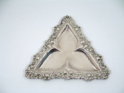 Antique Triangular Silver Pin Dish ~ Birmingham 1896.