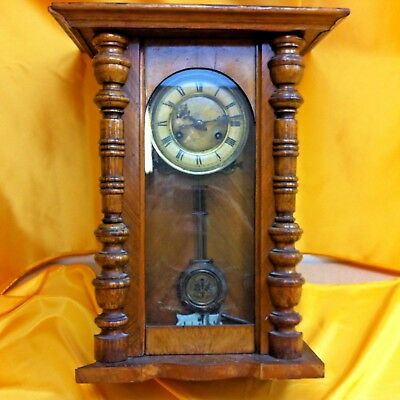 Wall clock,   wood and glass case , vintage for spares or repair  ##BAK15JM