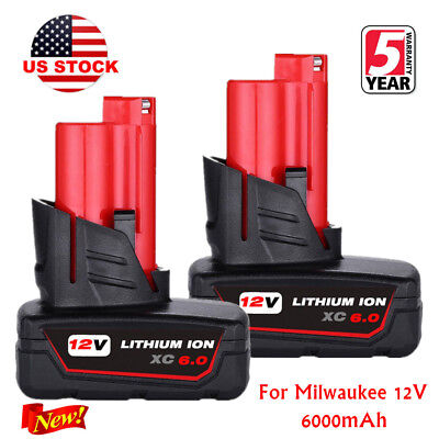 2X For Milwaukee 48-11-2460 48-11-2440 M12 LITHIUM ION XC 6.0 Drill Battery 12 V
