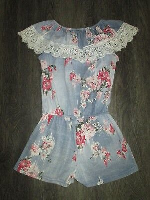 Girls Blue Floral Bardot Shoulders Playsuit  Age 8 Yrs Vgc