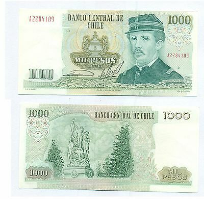 CHILE NOTE 1000 PESOS SERIAL A 1985 BLOCK 3 P 154c XF