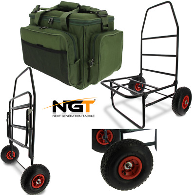New Ngt Classic Carp Fishing Trolley Folds Flat With Insulated Tackle Bag 709