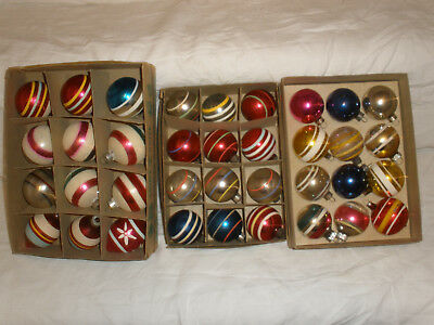 Vintage Lot of 36 Striped Glass Christmas Tree ornaments, Shiny Brite, Flocked
