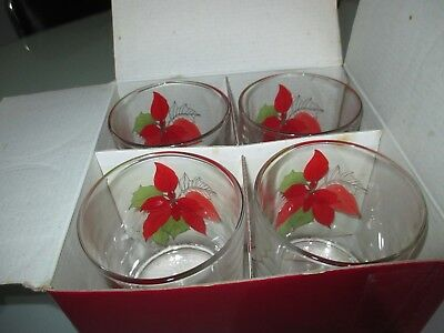 """NEW IN BOX Block Spal 4 POINSETTIA Glasses """"ON THE ROCKS"""" OLD FASHION"""
