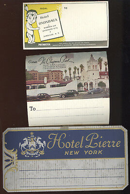 Lot Of 6 Old Baggage Tags, Stickers, To Be Addressed, Hotels Advertising