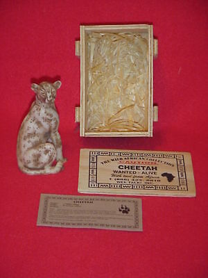 Vintage Endangered African Cheetah mini sculpture-resin stone-new in wood crate