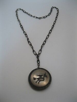 Lot 105 - Vintage 2 Sided Hopi Silver Overlay Bird Pendant on Chain Necklace