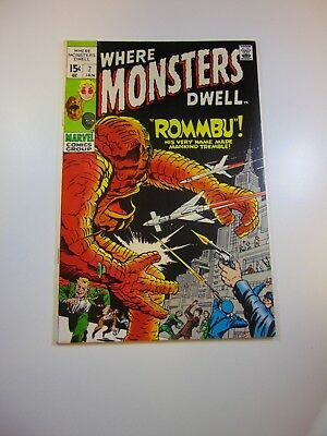 """Where Monsters Dwell #7 VG+ condition """"top staple detached from cover"""""""
