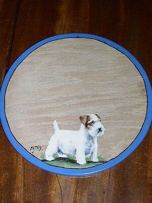 Antique Sealyham Terrier Dog Oil Painting On Birch Panel Signed 1938