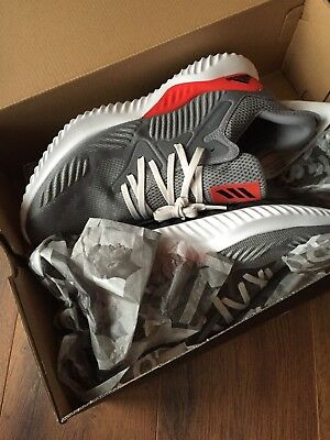 New ADIDAS ALPHABOUNCE BEYOND M GREY RED WHITE MEN'S RUNNING SHOES size 10.5