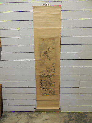Antique Chinese Scroll, 19Th Century,  Laid On Silk, Absolutely Original, Signed