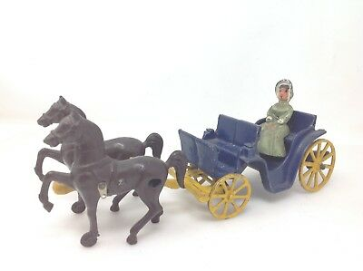 Vintage Stanley Toys Cast Iron Horse Drawn Surrey Carriage 1940's