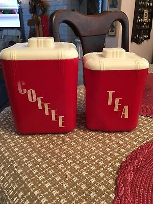 Vintage Red plastic  coffee and tea canisters 1950's