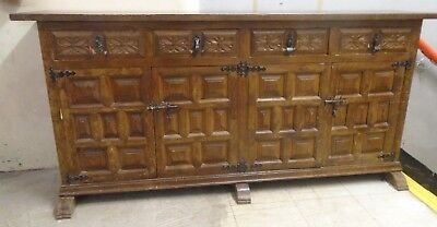 Gothic / Medieval / 17th Century Inspired Solid Oak Distressed Sideboard - B78