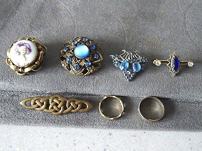 Collection Of 5 Antique/vintage Brooches & 2 Vintage Rings All Wearable