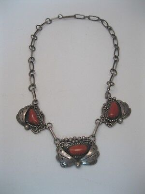 Lot 112 - Beautiful Vintage Navajo Sterling Silver & Coral Necklace signed