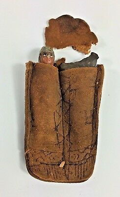 Antique Miniature Pottery Indian Chief and Arrowhead in Leather Pouch Souvenir