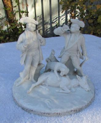 ANTIQUE 18th / 19thC BISCUIT PORCELAIN FIGURE GROUP - THE HUNTERS