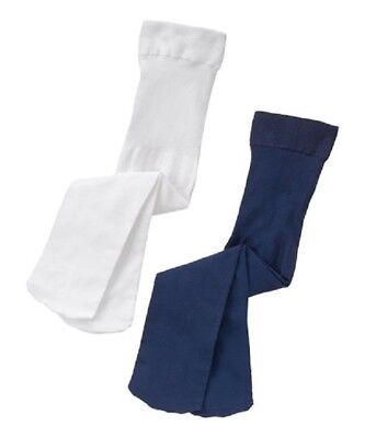 NWT Gymboree Set of 2 Basic solid Navy & White Tights  S 5-6