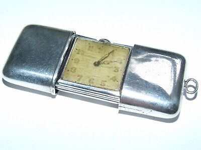 V Scarce Vintage 1928 Solid Sterling Silver Movado Travel Purse Watch, Working!