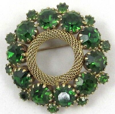 Vintage Circle Wreath Brooch Pin Green Sparkling Rhinestones Great for Christmas
