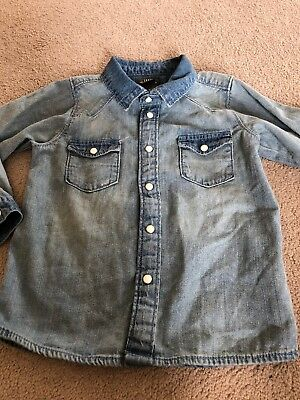 H&M Logg Boys Light Blue Denim Long Sleeve Shirt Size 1/12-2years