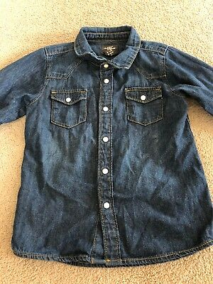 H&M Logg Boys Blue Denim Long Sleeve Shirt Size 1/12-2years