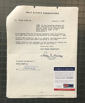 Roy Disney (Walt Disney's Brother Signed) 1960 LITTLEST OUTLAW Contract PSA/DNA