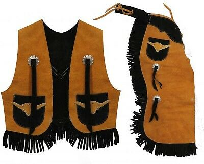 Childrens Chaps & Vest Set Genuine Suede Size 7/10 Large New