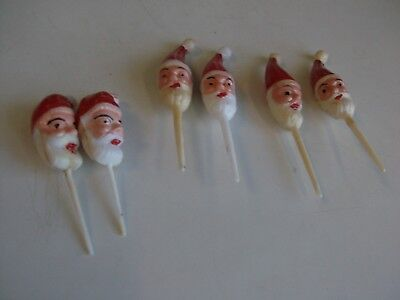 Lot of Six Vintage Hard Plastic Santa Head Christmas Cupcake Picks