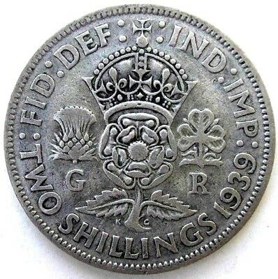 Great Britain Uk Coins, Two Shillings 1939, George Vi, Silver 0.500