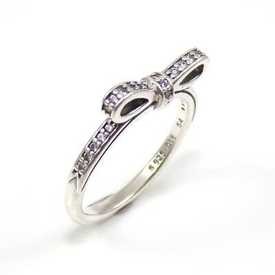 2d6df5972 AUTHENTIC PANDORA SPARKLING Bow Sterling Silver CZ Ring 190906CZ-56 ...