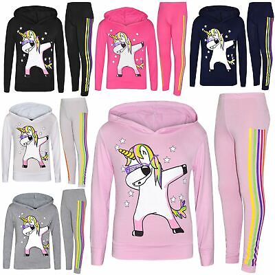 Kids Girls Rainbow Unicorn Dab Floss Hooded Top Legging Set Xmas Tracksuit 7-13Y