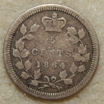 1864 - Large 6 - New Brunswick (Canada) - 5 Cents -  Rare Date - ---- #271Z