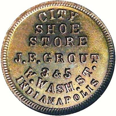 1863 Indianapolis Indiana Civil War Token City Shoe Store R6 NGC MS63