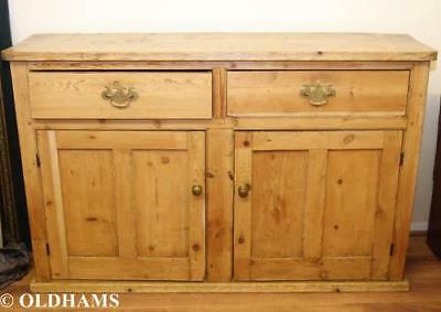 Fantastic Large Antique Pine Sideboard / Dresser Base with Drawers and Cupboards