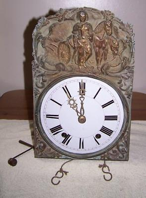 19ct FRENCH COMTOISE CLOCK, GRID IRON, PENDULUM AND WEIGHTS.